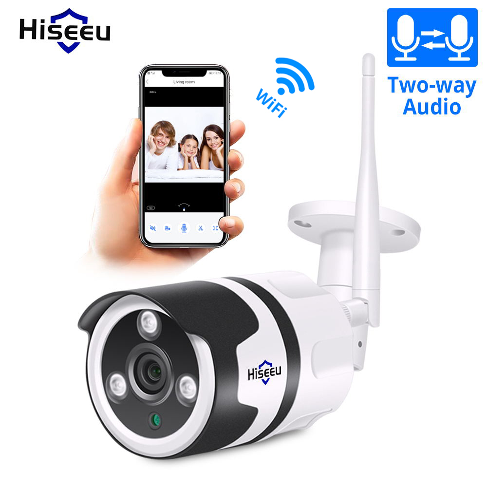 Hiseeu Wifi Outdoor IP Camera 1080P 720P Waterproof 2.0MP Wireless Security Camera Metal Two Way Audio TF Card Record P2P Bullet