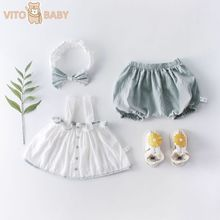 Vito Baby Summer Baby Button Sleeveless Sling Jacket + Bloomers + Hairband Baby Girl Three-piece Suit Girls Summer Clothes
