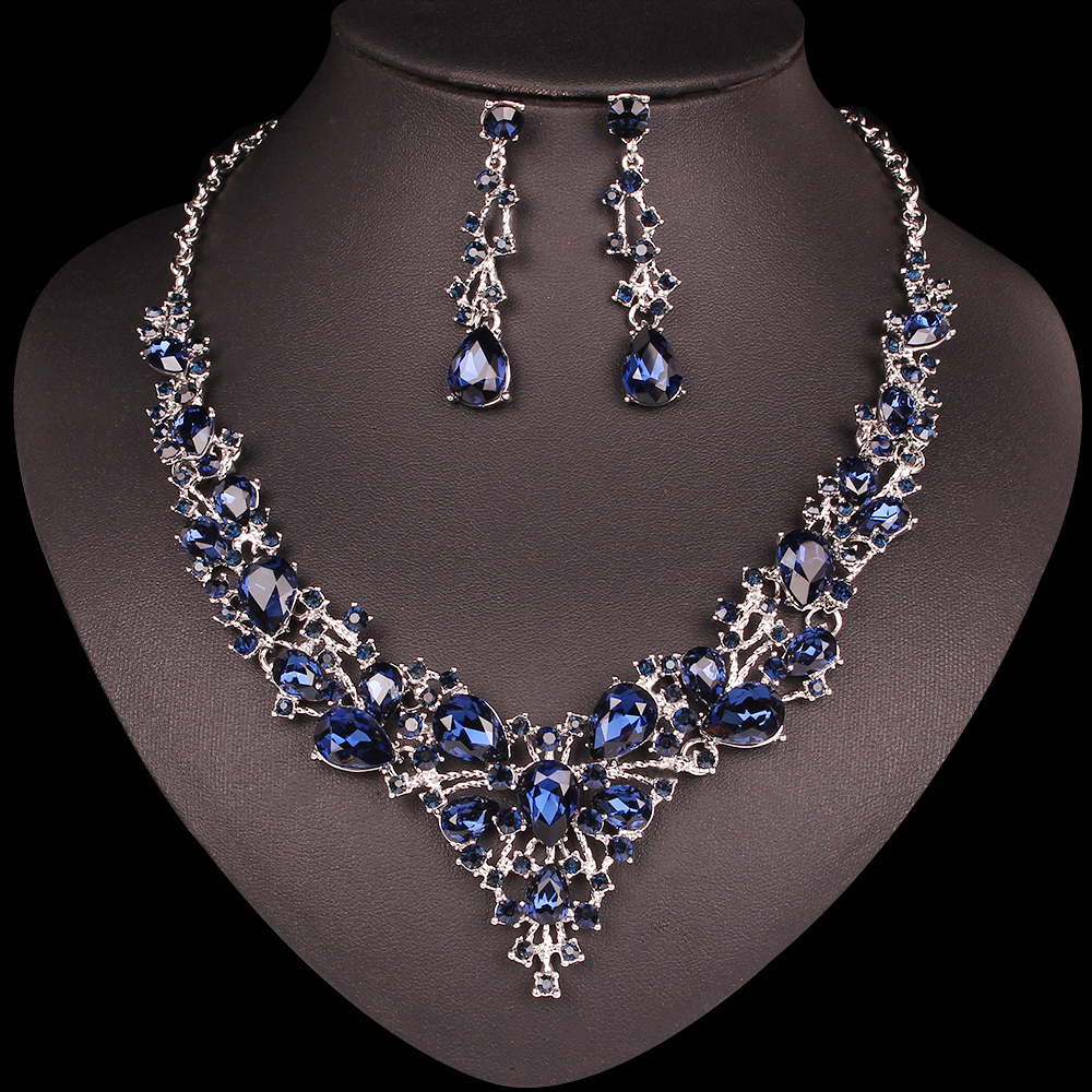Necklace-Set Costume-Accessories Earrings Crystal Wedding Bridal Indian Women Fashion
