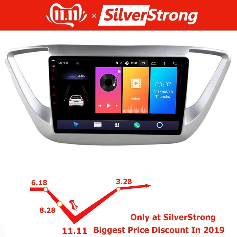 US $164.59 24% OFF|SilverStrong IPS Android9.0 Car DVD For Hyundai Solaris  Android Accent 2016 2017 2018 with 4G Modem Internet SIM navitel map DSP-in  ...