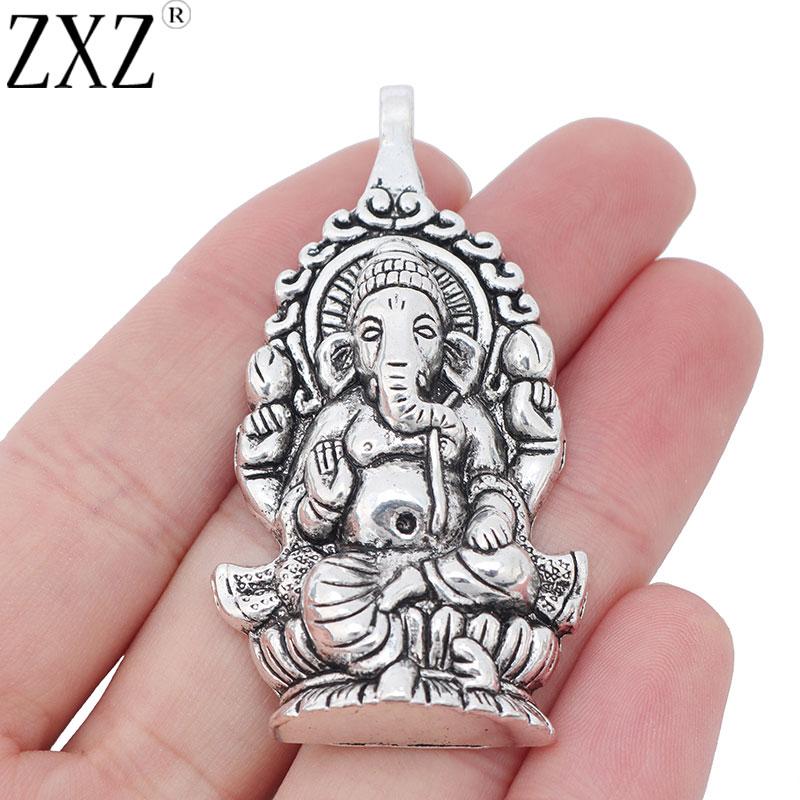 The God of all Beginings Blue Goldstone Carved Ganesha Elephant Head design 925 Sterling Silver Pendant.