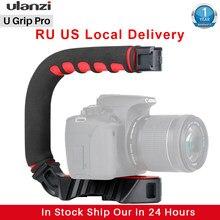 Ulanzi u-grip triplo frio sapato montar estabilizador alça grip rig photo studio conjunto com microfone para dslr nikon canon smartphone