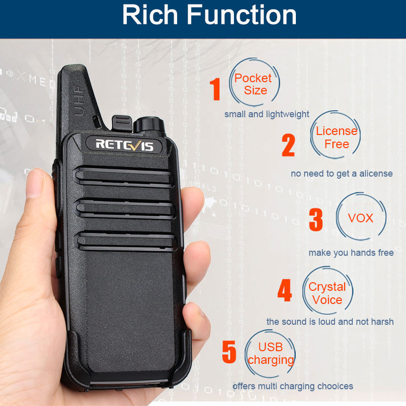 Image 2 - 2pcs RETEVIS RT622 RT22 Professional Walkie Talkie Mini PMR446 PMR Radio FRS VOX Two Way Radio Comunicador Transceiver Woki Toki-in Walkie Talkie from Cellphones & Telecommunications