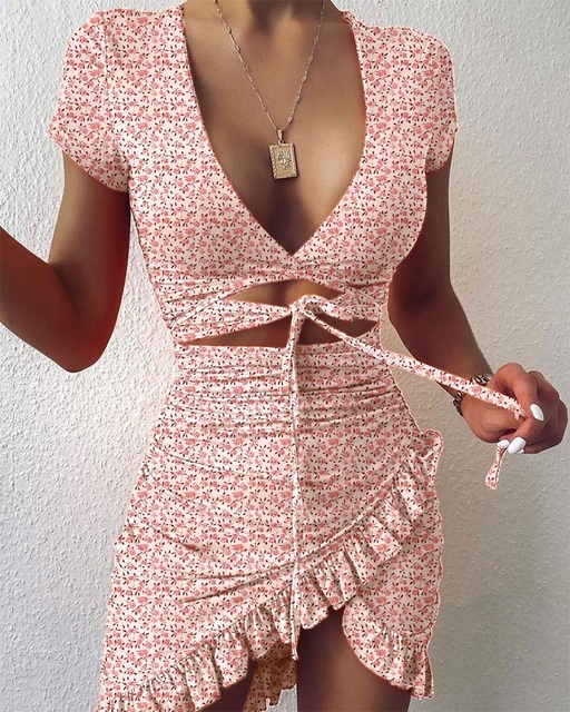 Cryptographic Floral Print Fashion Tie Up Wrap Mini Dress 2021 Summer Holiday Ruffles Sundress Ruched Women's Dress Short Sleeve 3