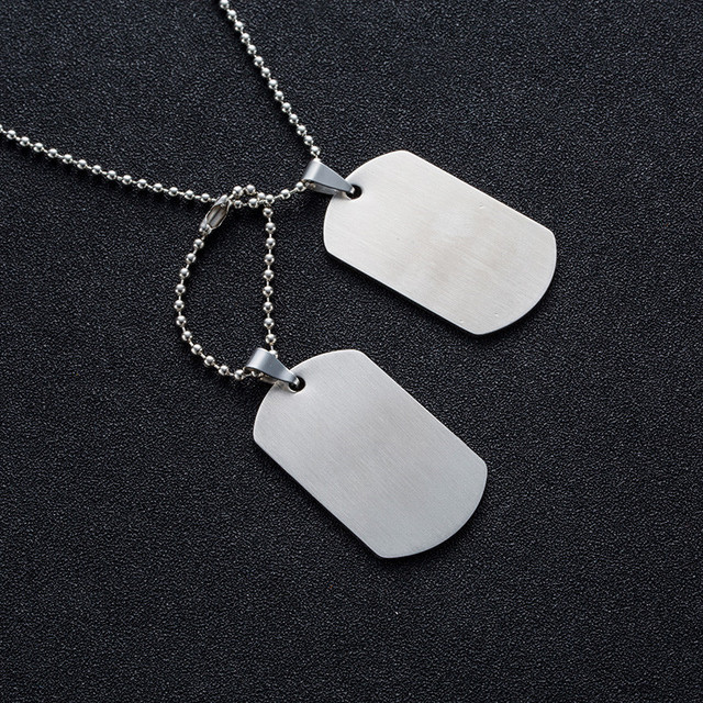Military Army Tactical Engraving Name ID Tags Cards Pendant Man Necklace&Pendants Stainless Steel Fashion Keychain Men Jewelry 5