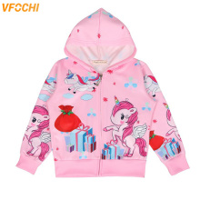 VFOCHI 2019 New Girl Jacket Kids Spring Windbreaker Color Pink Unicorn Children Clothing Autumn Baby Girls Hooded
