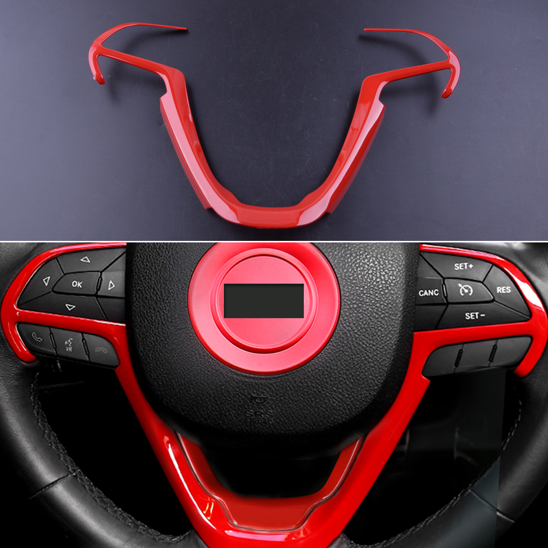 Fit For Jeep Cherokee 2014-2019 Grand Cherokee ABS Red Steering Wheel Cover Trim