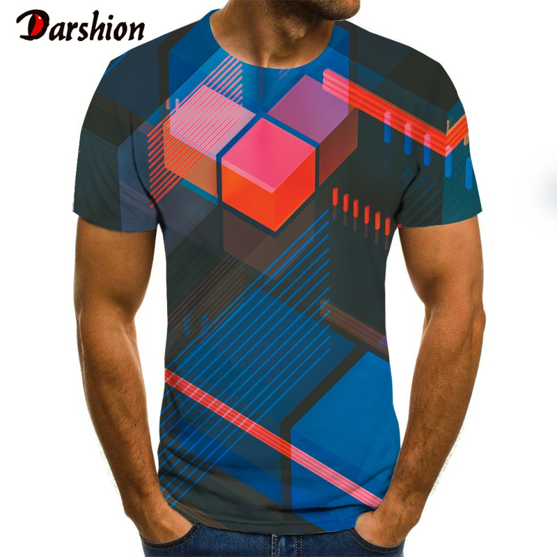 2020 New Three-dimensional Vortex Tshirt Men's Summer 3D Print  Casual 3D T Shirt  Daily Casual Funny Tops Tee 4XL Size For Male