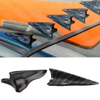 Stylish Carbon Fiber Shark Fin Wing Car Vehicle Roof Top Spoiler Decoration image