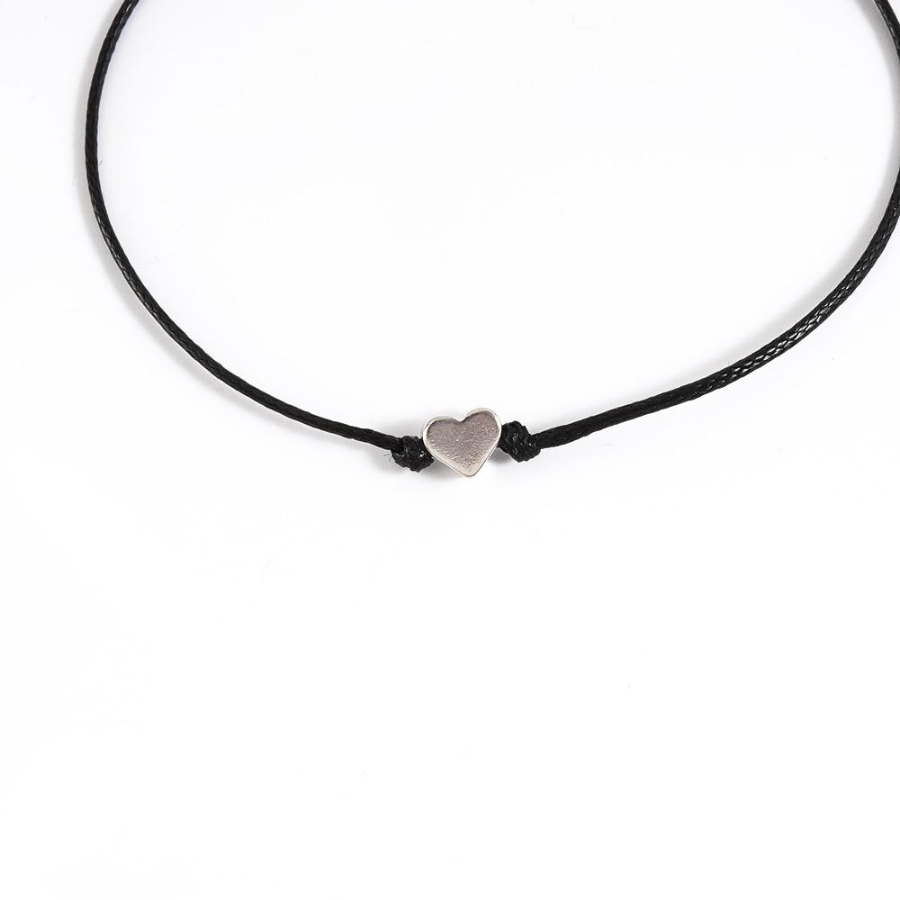 Minimalism Lucky Love Heart Shape Charm Bracelet Thin Red Black Rope Thread String Braid Bracelets For Men Women Couples Gifts