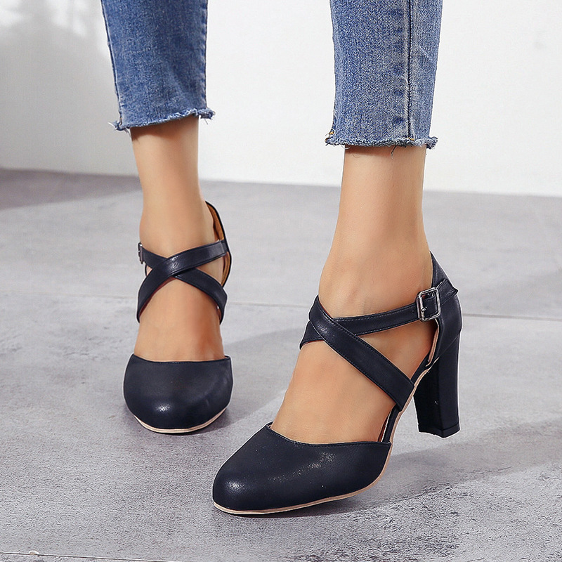 Woman Sandals Fish Mouth Women Sandals 2020 Pu Suede Retro High Heels Square Heel Fashion Sandals Shoe