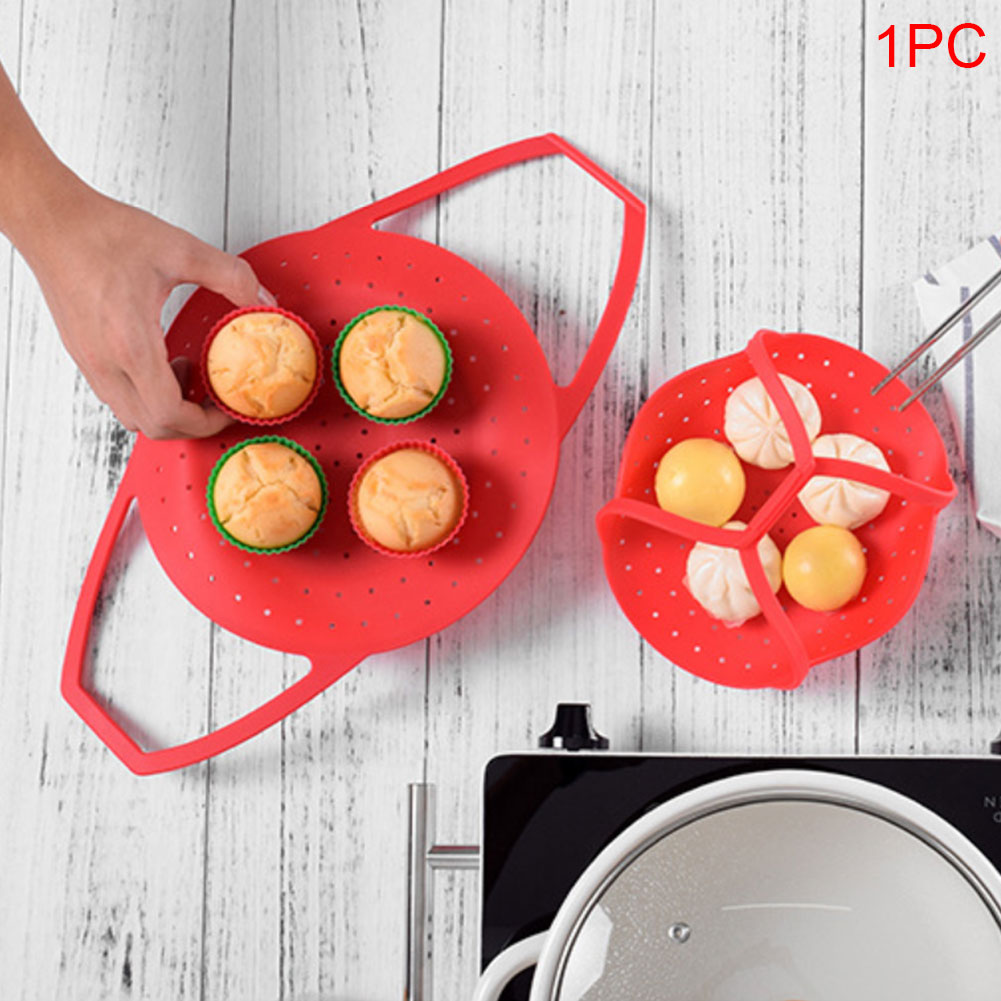 Food Kitchen Tool Vegetable Folding Durable Steamer Basket Dishwasher Safe Multifunction Silicone Cooker Useful Heat-Resistant