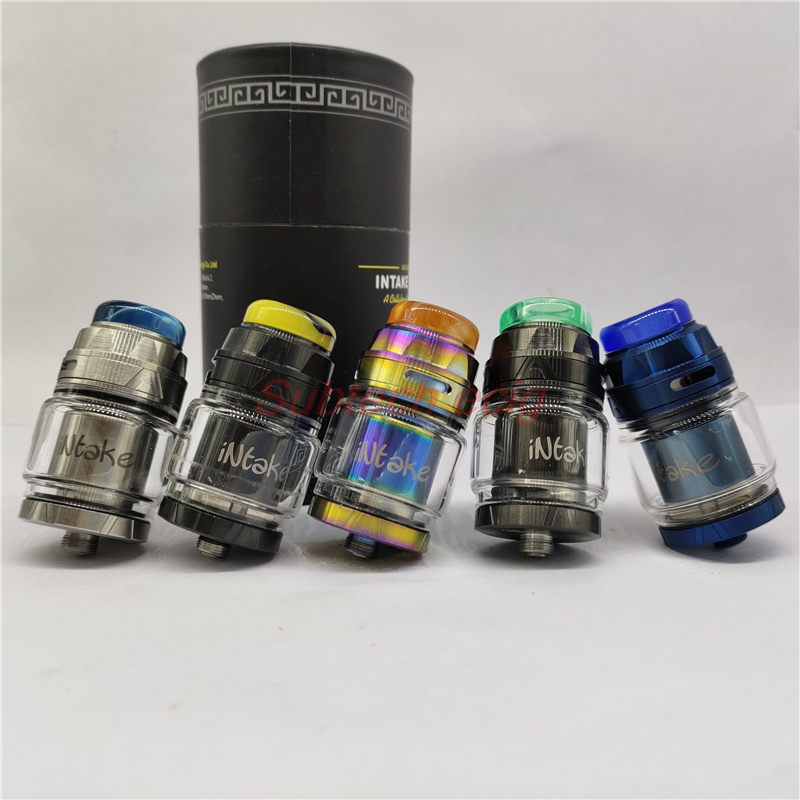 Newest Colorful INTAKE RTA Replaceable Tank Atomizers 4.2ml Resin Drip Tip Single Coil Bottom Airflow Dual Posts Build Deck Tank