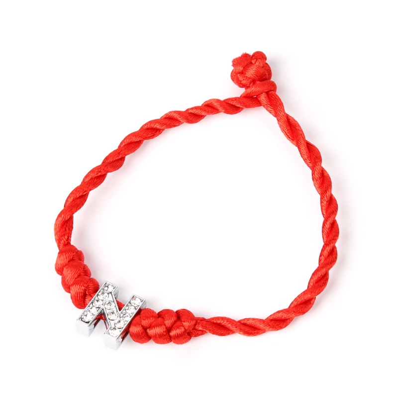 Valentine's Day Lucky Rope Cord Crystal Letters Red String Couple Bracelets For Lovers U50C