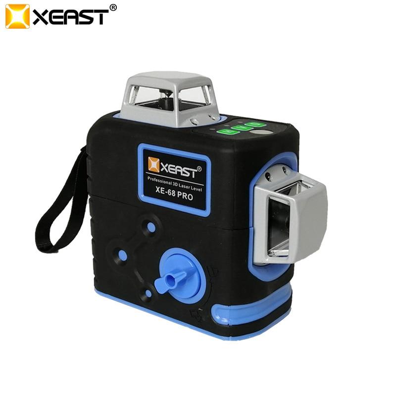 XEAST XE-68G Pro 12 Linien 3D Green Laser Level Selbst Nivellierung Horizontale & Vertikale Kreuz Linien Verwenden Können Empfänger