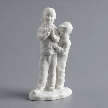 Creative Scrub Ceramics Art East Child Sister Sculpture Figure Statue Craft Home Decoration Accessories Birthday Gift R3350
