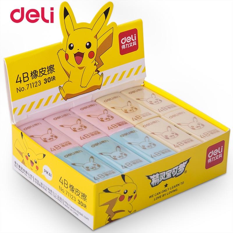 Ластики Deli Pokemon Pikachu, 2 шт., оранжевые, синие, розовые, канцелярские принадлежности, офисные принадлежности, милые Ластики для школьного рисов...