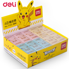 Deli Pokemon Pikachu Erasers 2PCS Orange Blue Pink Stationery Office Supplies School Drawing kawaii Cute eraser for kids