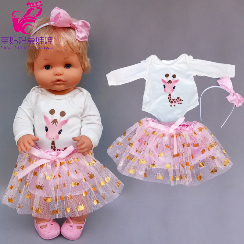 16 Inch Baby Doll Dress Suitable For 40 Cm Baby Doll Clothes Skirt And Headwear 3 In 1 Set Ropa Y Su Hermanita