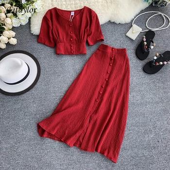 Fitaylor New Women Two Piece Set Summer V Neck Short Sleeve Tunic Waist Crop Tops + High Waist Long Skirt Suits 1