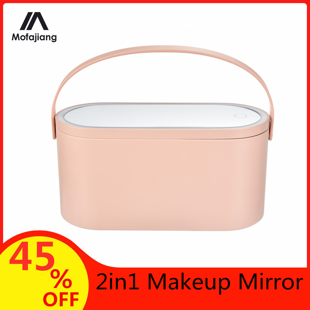 2w1 Portable Travel lustro do makijażu Organizer na kosmetyki z oświetleniem LED lustro kosmetyczne stół dotykowy makijaż futerał do przechowywania Dropship