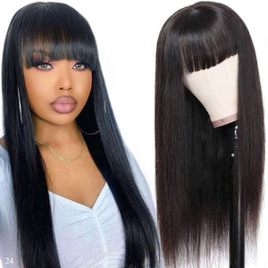 Cheap Straight Human Hair Wigs With Bangs Brazilian Hair Wigs For Black Women Remy Full Machine Made Glueless Bob Wig With Bangs(China)