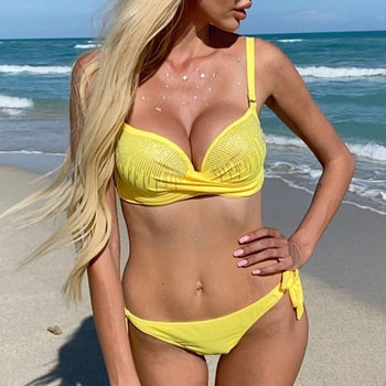 Sexy rhinestone bikinis 2020 mujer Push up swimsuit female Bandage swimwear women Brazilan bikini Summer bathing suit new Beach