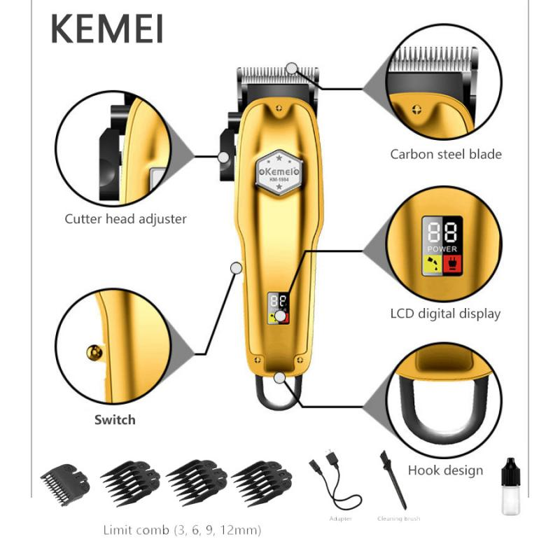 Kemei Hair Clipper Oil Head Electric Clipper Hair Trimmer For Men Barber Body Stainless Steel Fader Electric Hair Clippers Men