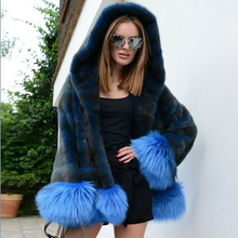 Fashion Hooded Real Mink Fur Coat with Blue Fox Fur Sleeve Cuffs and Bottoms High Quality Woman Natural Full Pelt Mink Jackets
