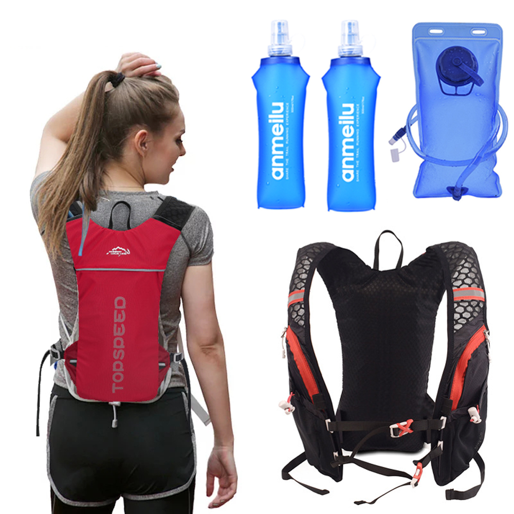 Women Trail Running Backpack 5L Ultra-light Running Hydration Vest Pack Marathon Rucksack Bag 500ml Soft Flask Bottle Water Bag