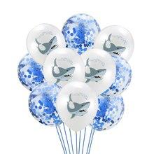 12inch Shark Latex Balloon Kids Birthday Party Balloon Baby Shower Party Decorations Helium Balloon Happy Birthday White Balloon