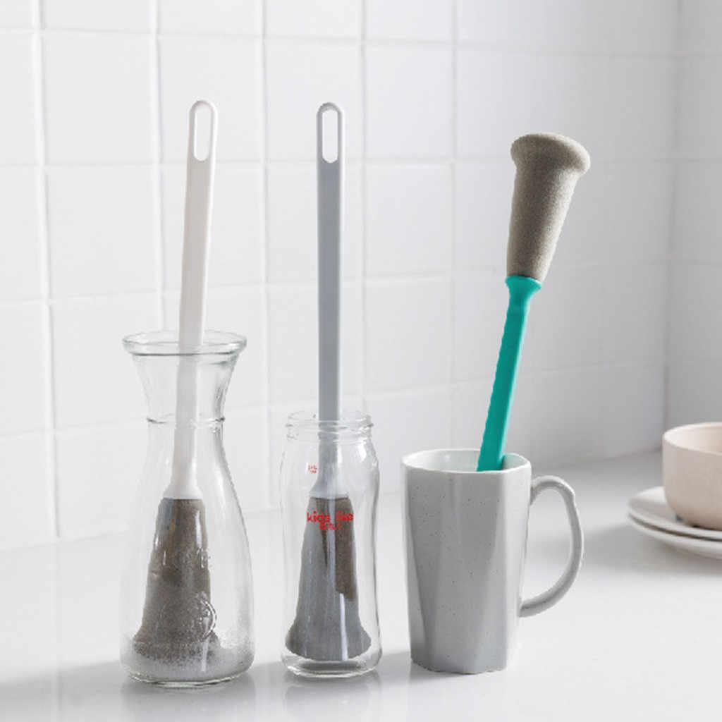Longo esponja copo escova de leite garrafa copo de vidro lavagem limpeza cozinha uso escova de limpeza purificador lavar louça ferramentas