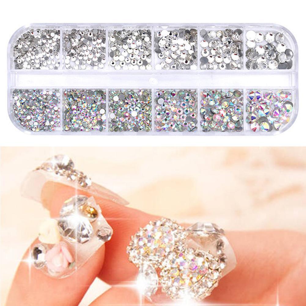 Mixed Size Nail Rhinestones 3D Crystal AB Clear Nail Stones Gems Pearl DIY Nail Art Decorations Gold Silver Rivet Rhinestone