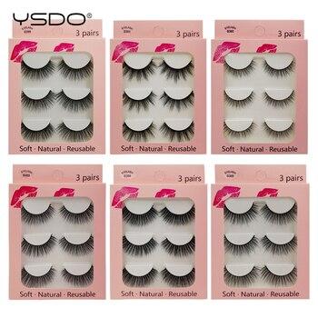 YSDO 3 pairs 3d mink lashes eyelash extension volume lashes makeup mink eyelashes natural long false eyelashes cilios maquiagem 1