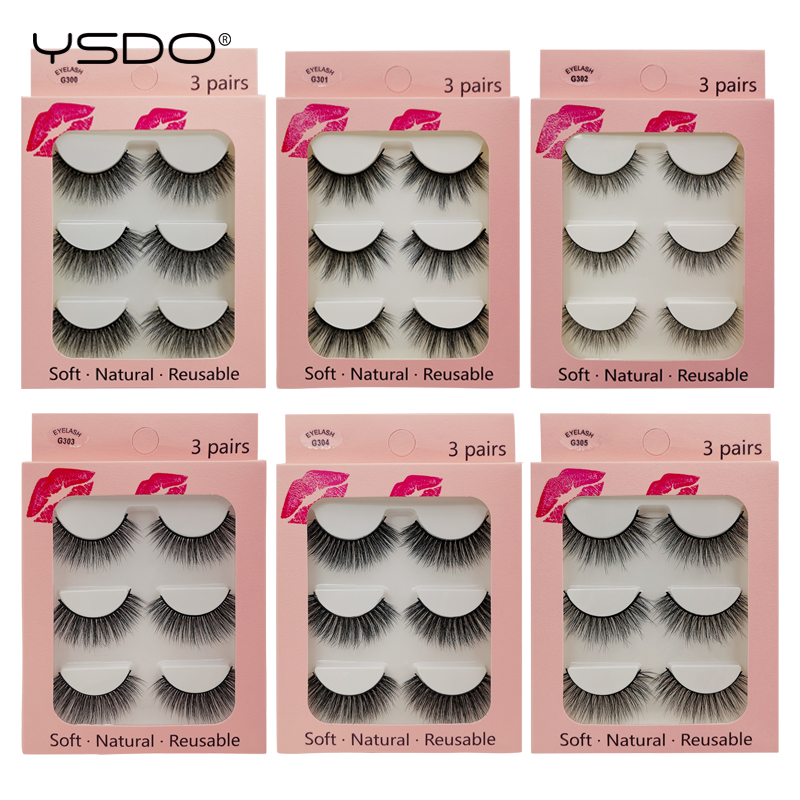 YSDO 3 Pairs 3d Mink Lashes Eyelash Extension Volume Lashes Makeup Mink Eyelashes Natural Long False Eyelashes Cilios Maquiagem