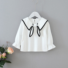 FGirls Tops Clothing Autumn Baby Girl Cute Long Flare Sleeve Peter pan Collar Solid Bow Shirts Kids Tops Shirts Casual Blouse стоимость