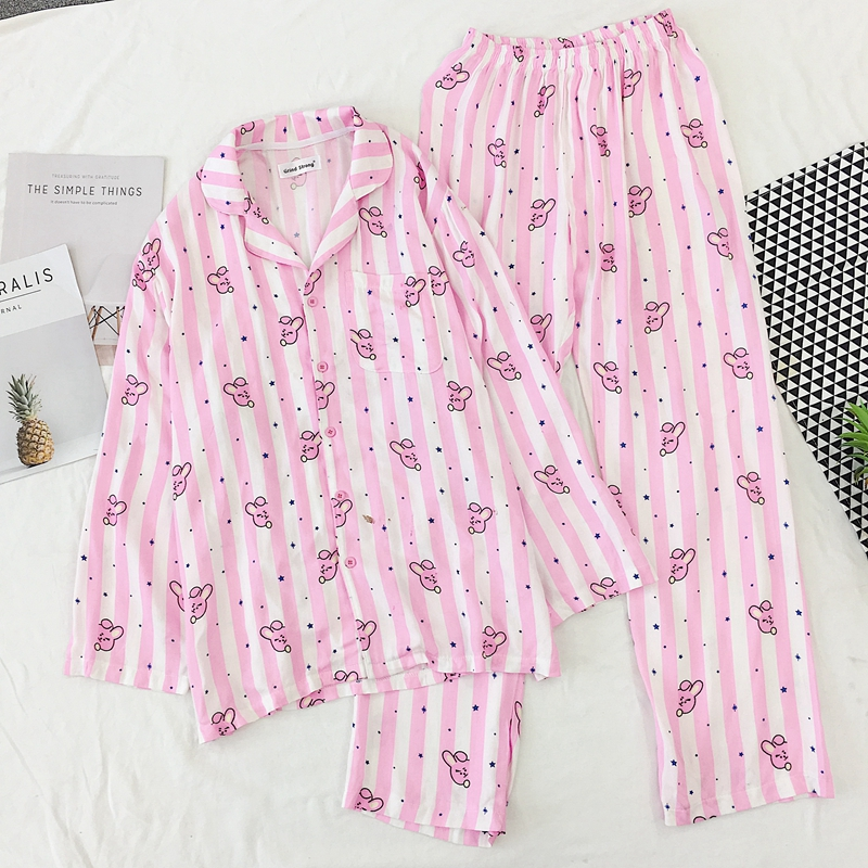 2020 Pyjamas Women Pajama Set Lovely Cartoon Stripe Rabbit Heart Printed Sleepwear Kawaii Pijama Mujer Female Nightsuit