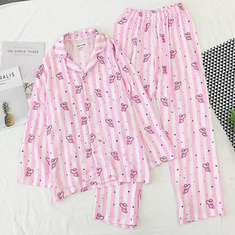 2020 Pyjamas Women Pajama Set Lovely Cartoon Stripe Rabbit Heart Printed Sleepwear Kawaii Pijama Mujer Female Nightsuit