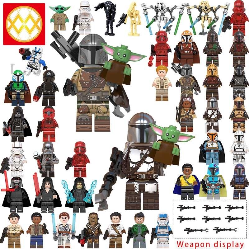 lEGOED New Starwars Baby Yoda knights of ren Mandalorian MINIFIGURED Ray Empire robot attackers Mandalorians Building BlocksToys