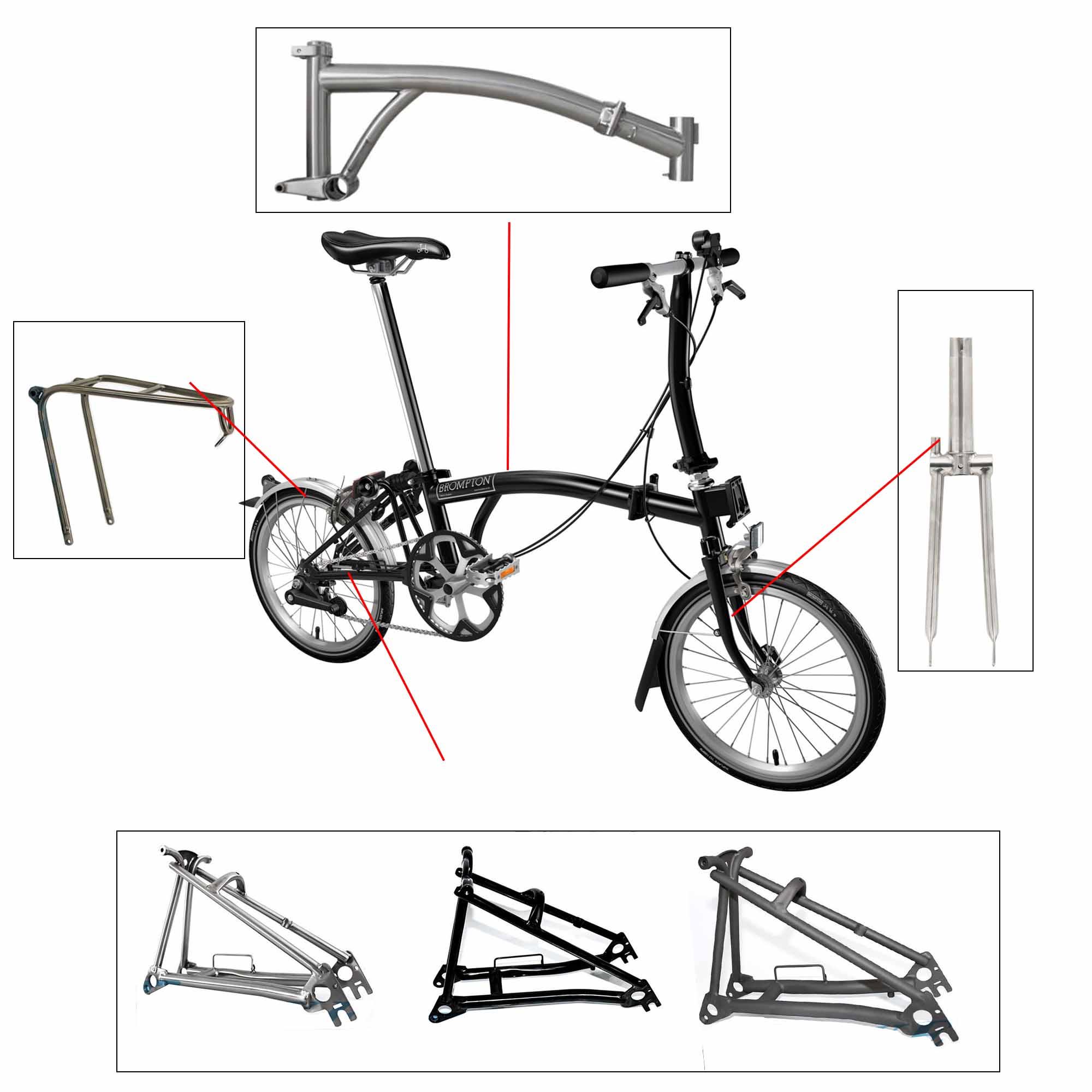 Aceoffix Bike Frame For Brompton Bicycle Front Fork Titanium Alloy Rear Racks Frame