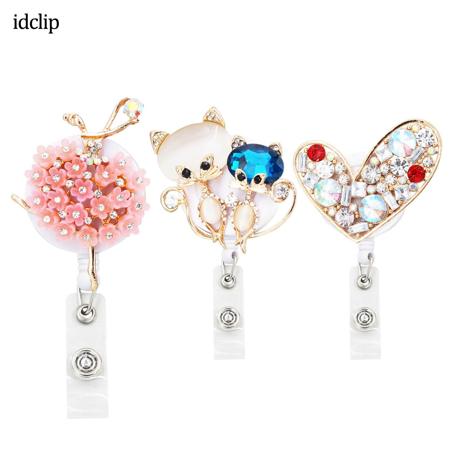 Idclip 3PC Lot Animal ID Retractable Badge Holder With Alligator Clip Retractable Cord ID Badge Reel Fox Dress Girl Horse Style
