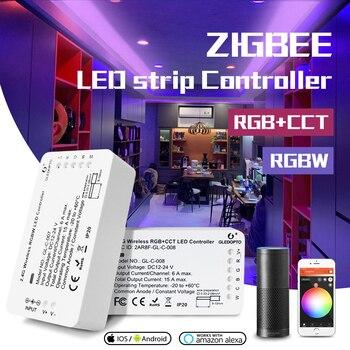 جلودوبتو DC12-24V RGB  CCT/rgbw زيجبي الذكية LED قطاع تحكم التحكم الصوتي العمل مع صدى زائد smartarts زيجبي 3.0 HUB
