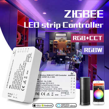 Controllo vocale intelligente della striscia LED di Zigbee, RGB CCT/rgbw, controllo vocale, funziona con eco plus, smartThings, HUB ZIGBEE 3.0