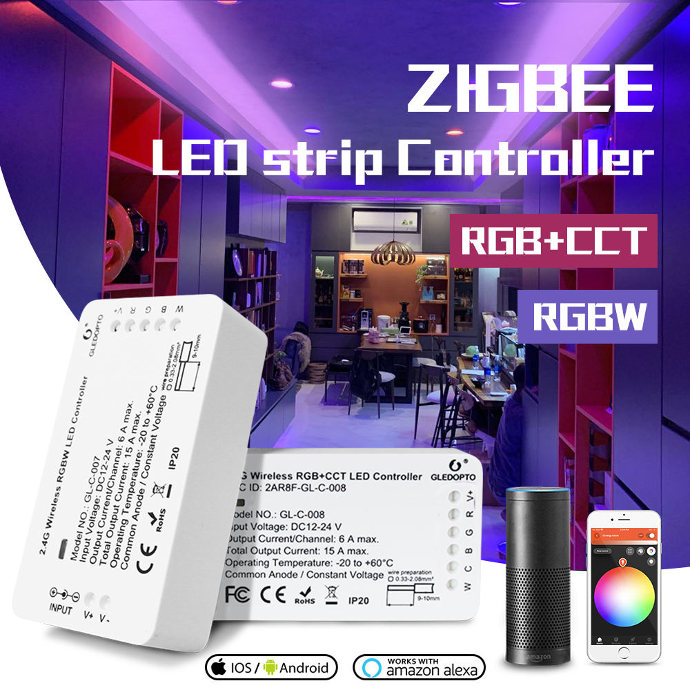 GLEDOPTO DC12-24V RGB+CCT/rgbw Zigbee Smart LED Strip Controller Voice Control Work With Echo Plus SmartThings ZIGBEE 3.0 HUB