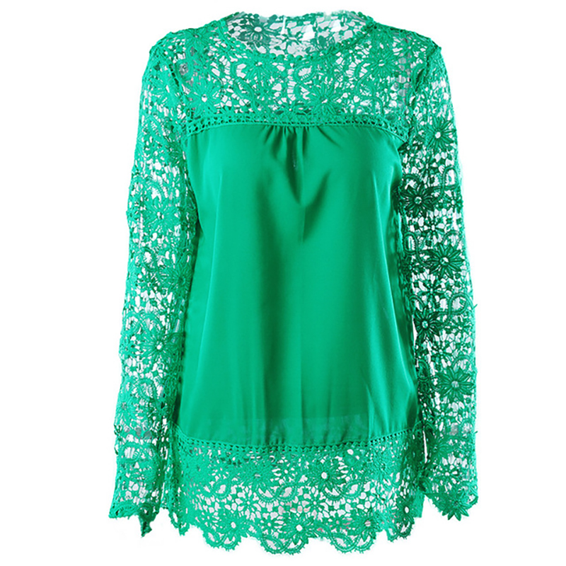 Womens Tops and Blouses Chiffon Shirt Long Sleeve Openwork Flower Lace Top O-neck Women Clothes Streetwear 2019