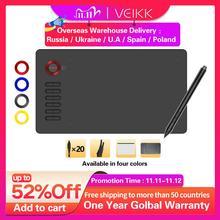 VEIKK A15 لوح رسم مساحة كبيرة 10x6 بوصة جهاز كمبيوتر لوحي للرسومات 12 مفتاح ، 20 قناة و 1 قفاز (أحمر ، أزرق ، ذهبي ، رمادي)