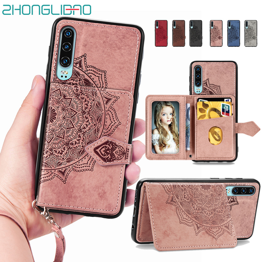 Card Holder Case for Huawei P30 <font><b>Mate</b></font> 30 Honor <font><b>20</b></font> 9x Pro <font><b>Lite</b></font> Fabric Wallet Cover Huwei P Smart Plus Z Y5 Y6 Y7 Pro 2019 Bag <font><b>Capa</b></font> image