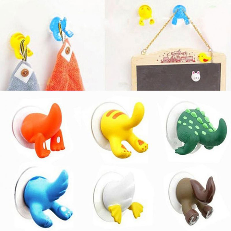 Animal Tail Shape Vacuum Suction 6 Color Cup Key Towel Hanger Hook Kitchen Bathroom Clothes Strong Wall-mounted Hooks