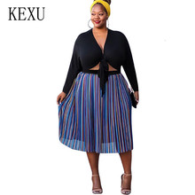 KEXU Autumn Big Size Women Dress Casual Print Patchwork Vintage Striped Plus 4XL Femme Elegant V-neck Party Dresses