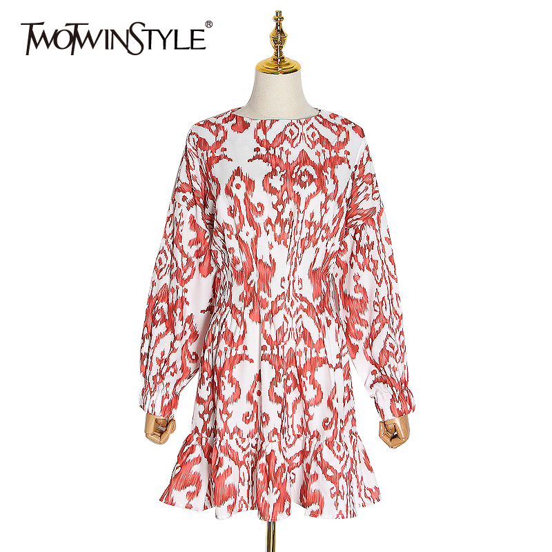 TWOTWINSTYLE Casual Print Women Dress O Neck Lantren Long Sleeve High Waist Ruffles Hit Color Dresses For Female Fashion Clothes